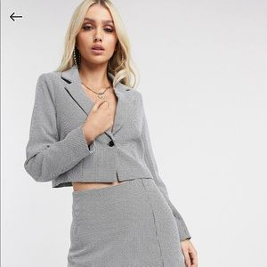 Missguided Gingham Cropped Blazer